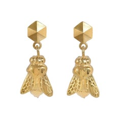 18ct yellow gold vermeil 'Bee' earrings