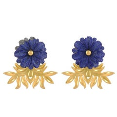 TPL Vermeil Carved Lapis Lazuli Flower Earrings