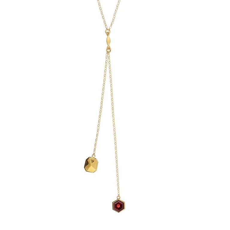 TPL Vermeil Garnet Lariat Necklace