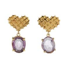 TPL Vermeil Heart Amethyst Earrings