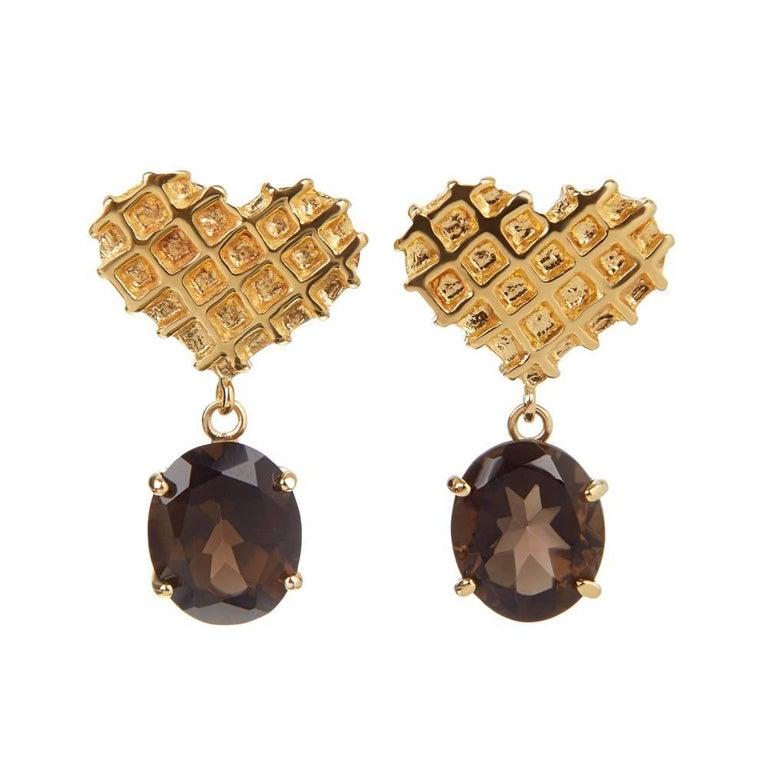 TPL Vermeil Heart Smokey Quartz Earrings