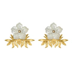 18ct yellow gold vermeil and hand-carved mother-of-pearl earrings