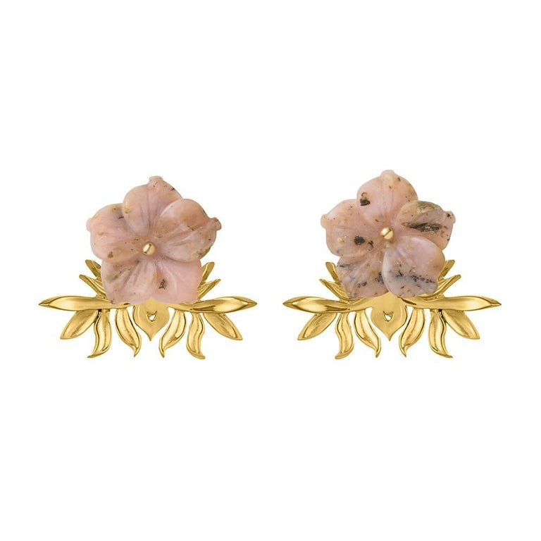 TPL Vermeil Pink Opal Flower Earrings