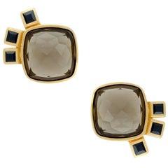 TPL Vermeil Smoky Quartz Black Sapphire Earrings