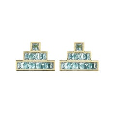 18ct yellow gold vermeil and topaz 'Temple' earrings