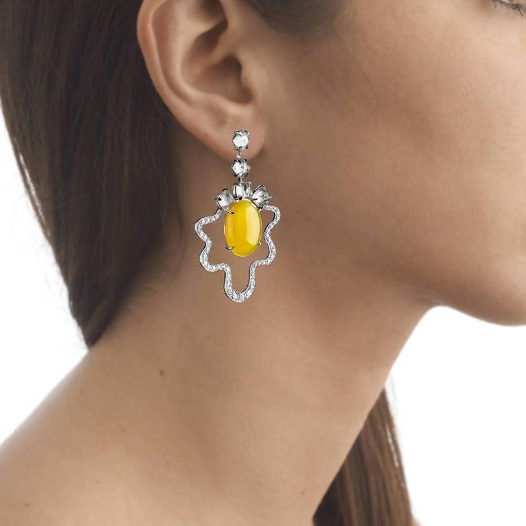 TPL White-Gold Yellow-Agate Topaz Diamond Egg Earrings For Sale 1