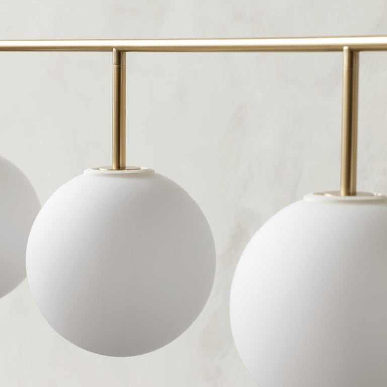 Chinese TR Bulb, Suspension Frame, Brushed Brass, Matte Opal For Sale