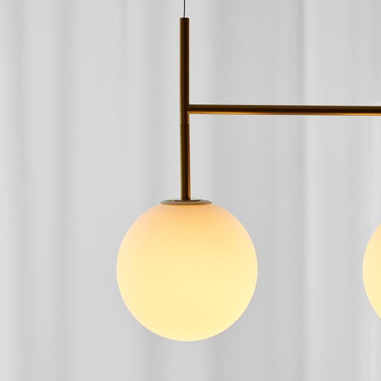 Contemporary TR Bulb, Suspension Frame, Brushed Brass, Matte Opal For Sale