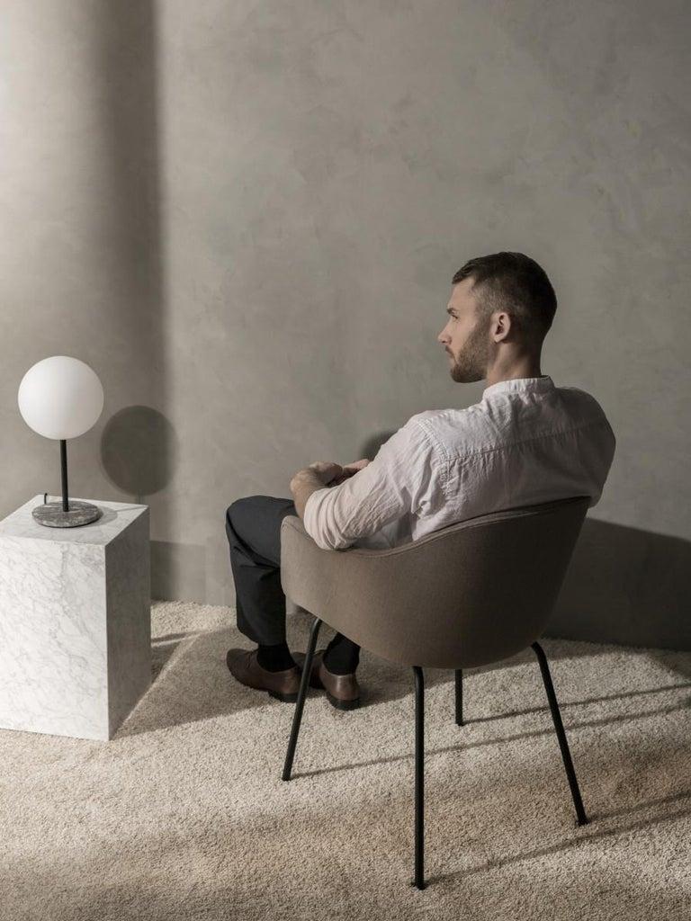 Scandinavian Modern TR Bulb, Table Lamp, Grey Marble, Matte Opal For Sale