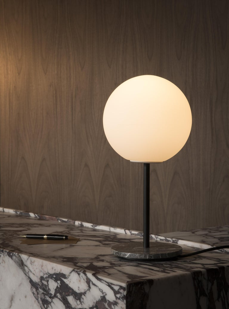 Chinese TR Bulb, Table Lamp, Grey Marble, Matte Opal For Sale