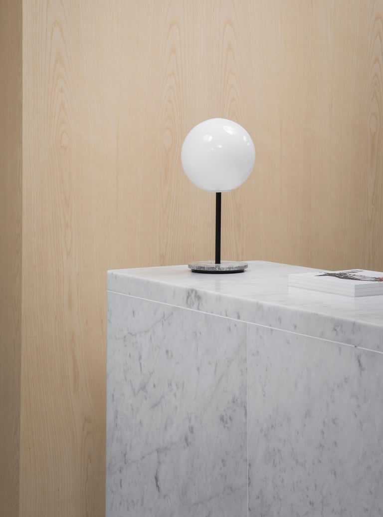 Powder-Coated TR Bulb, Table Lamp, Grey Marble, Matte Opal For Sale