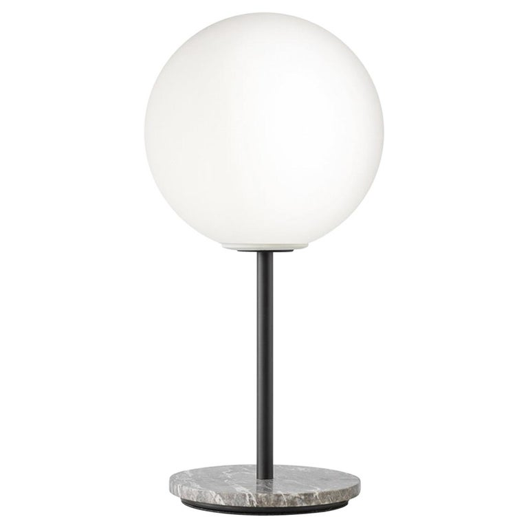 TR Bulb, Table Lamp, Grey Marble, Matte Opal For Sale