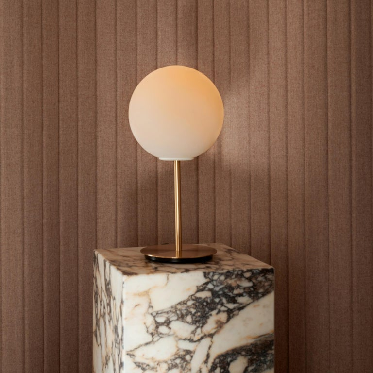 Chinese TR Bulb Table Lamp with a Brushed Brass Base and a Shiny Opal Bulb For Sale