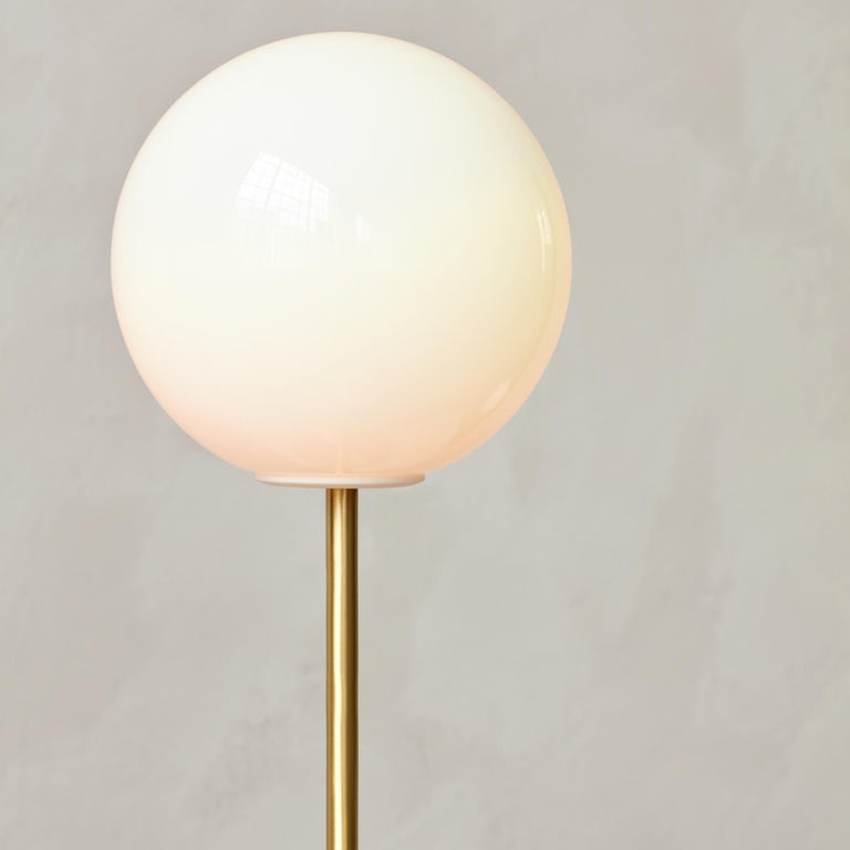 TR Bulb Table Lamp with a Brushed Brass Base and a Shiny Opal Bulb In New Condition For Sale In San Marcos, CA