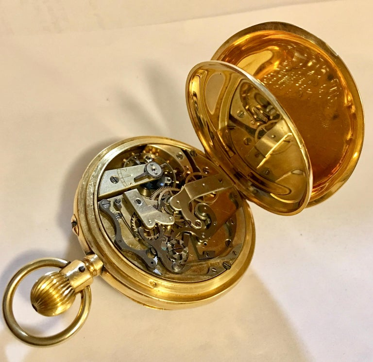 a3e07bfb5 T.R Russel's Swiss Split Second 18 Karat Gold Chronograph Pocket Watch In  Good Condition For Sale