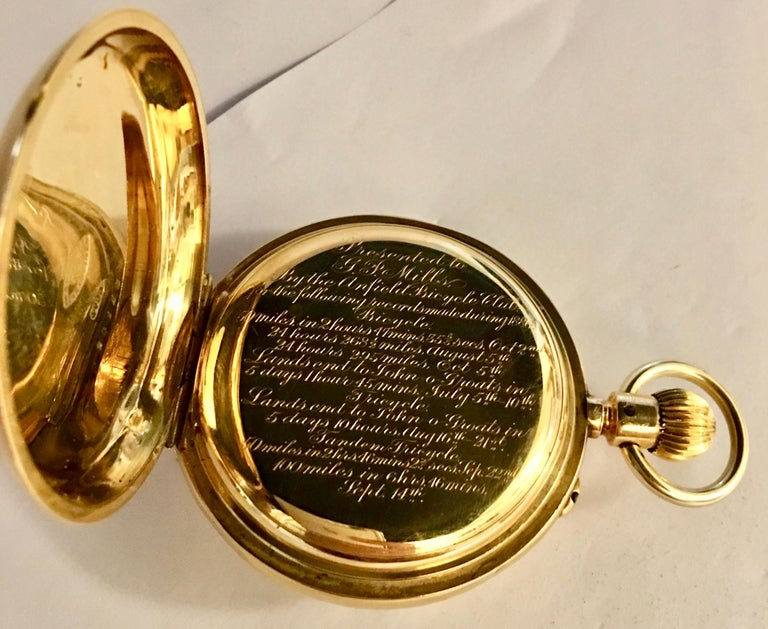 7a8f64d24 T.R Russel's Swiss Split Second 18 Karat Gold Chronograph Pocket Watch For  Sale 1