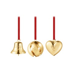 Traberg Gold Plated Christmas Collectibles Gift Set for Georg Jensen