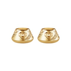 Traberg Gold-Plated Heart Tea Light Set for Georg Jensen