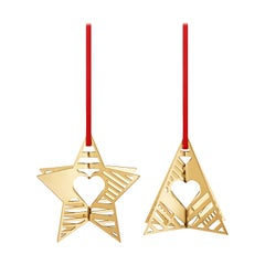 Traberg Gold Plated Star and Tree Holiday Ornament Set for Georg Jensen