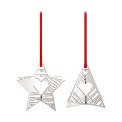 Traberg Palladium Plated Star and Tree Holiday Ornament Set for Georg Jensen
