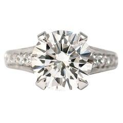 Trabert & Hoeffer 3.24 Carat H SI1 Brilliant Round Diamond Ring