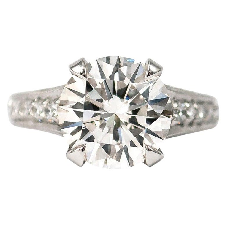 Trabert & Hoeffer 3.24 Carat H SI1 Brilliant Round Diamond Ring For Sale