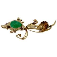 Trabert & Hoeffer Mauboussin 14 Karat Gold Emerald Reflection Fish Brooch