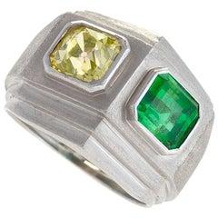 Trabert & Hoeffer Mauboussin Art Deco Yellow Diamond, Emerald and Platinum Ring