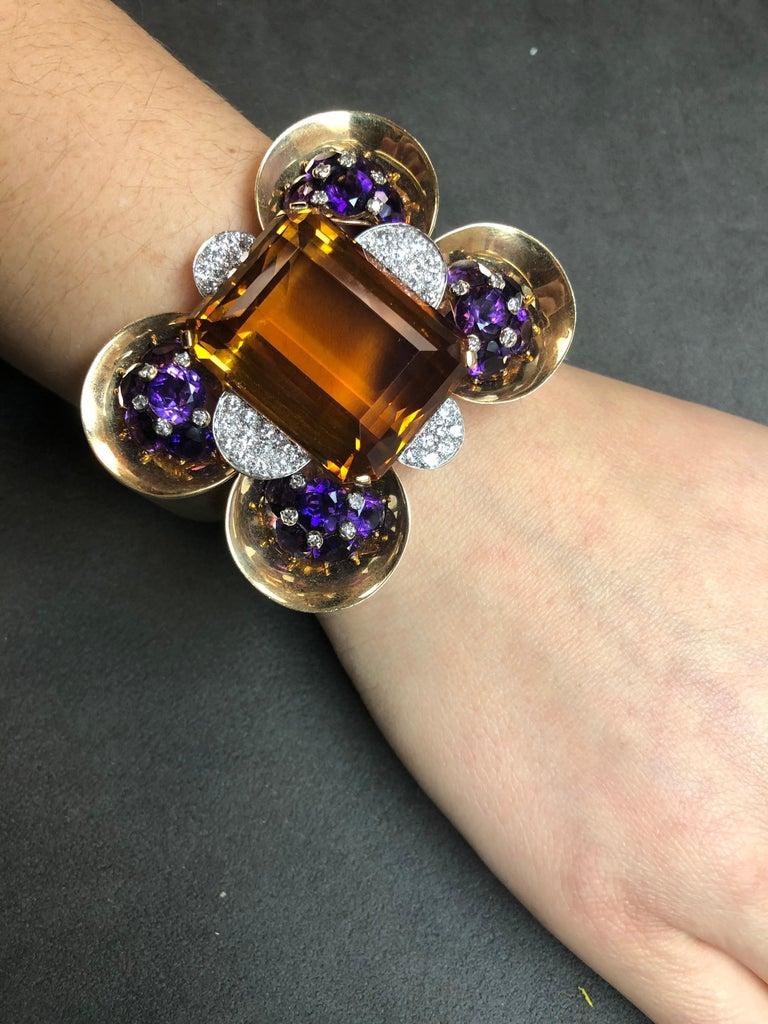 Trabert & Hoeffer Mauboussin Citrine Amethyst Diamond Reflection Bracelet  An exquisite jewel from the Reflection Collection by haute jeweler Trabert & Hoeffer Mauboussin. The bracelet is elegantly set with citrine, amethyst and diamonds, circa