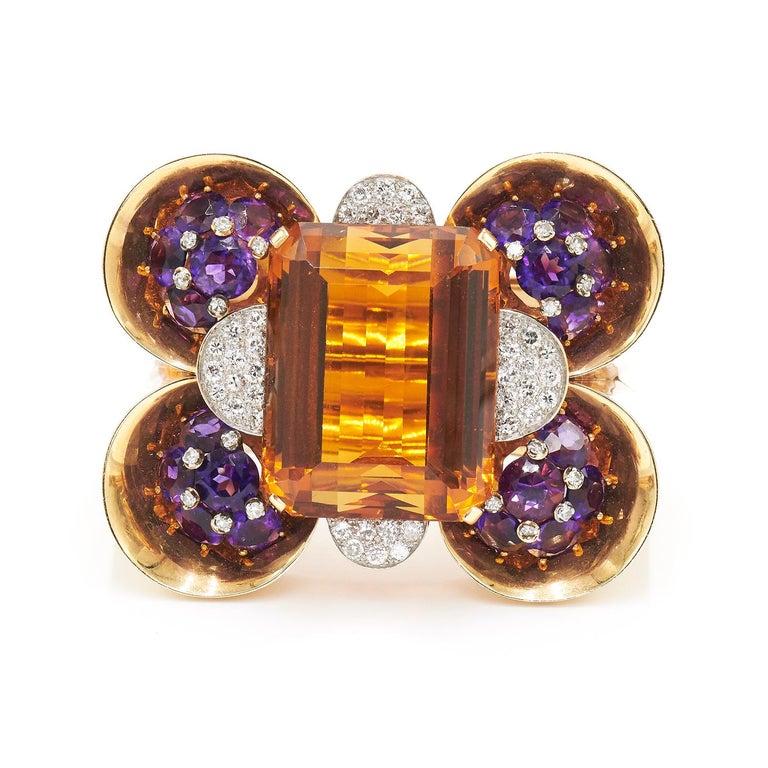 Women's or Men's Trabert & Hoeffer Mauboussin Citrine Amethyst Diamond Reflection Bracelet For Sale
