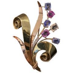Trabert & Hoeffer Mauboussin Retro Reflection Sapphire Diamond Brooch Gold 1940s
