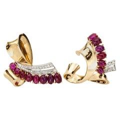 Trabert & Hoeffer Mauboussin Retro Ruby and Diamond Double Clip 14kt Gold Brooch