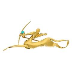 Trabert & Hoeffer Mauboussin Yellow Gold Turquoise Sagittarius Brooch