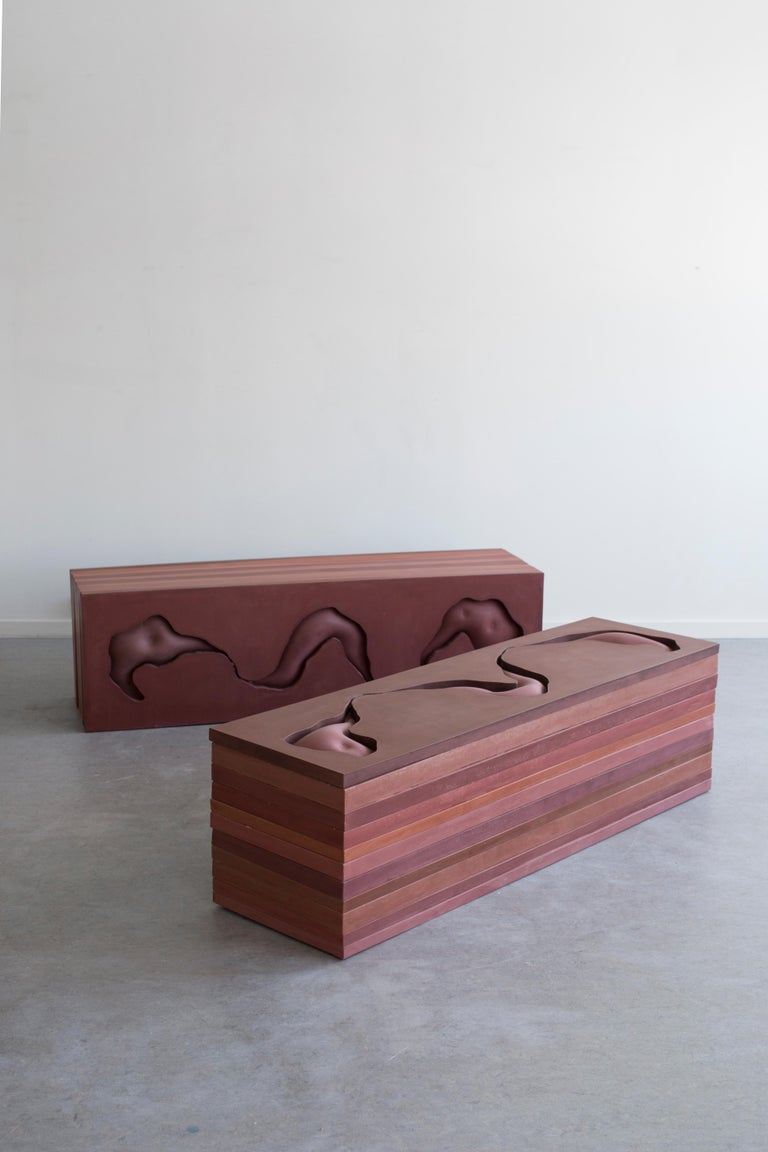 Post-Modern Contemporary Jesmonite Bench by Hilda Hellström, 'Traces of Your Behind II' For Sale