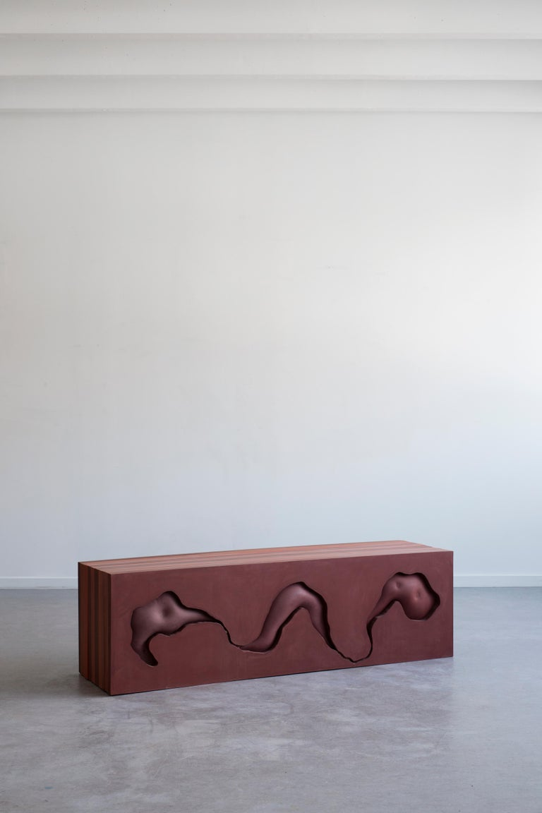 Unique and handmade jesmonite bench by Swedish artist Hilda Hellström. One out of a series of two. Part of the exhibition The Science of Imaginary Solutions, August - September 2019.
