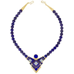 Tracey Designs Lapis Lazuli Beads, Gold and Enamel Necklace