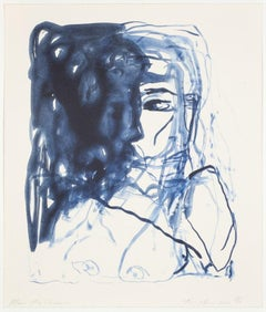 After The Shadow - Emin, Contemporary, YBAs, Lithograph, Blue, Portrait