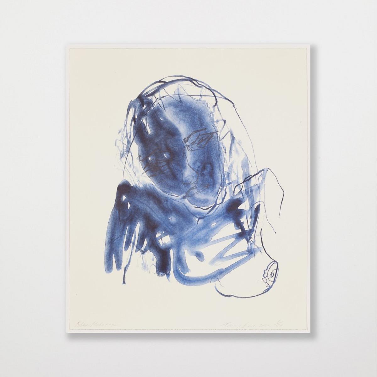 Blue Madonna - Emin, Contemporary, YBAs, Lithograph, Portrait, Black