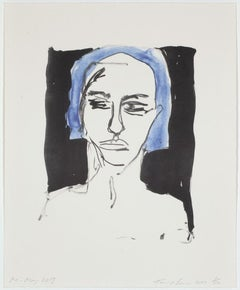 Me - May 2019 - Emin, Contemporary, YBAs, Lithograph, Portrait, Blue