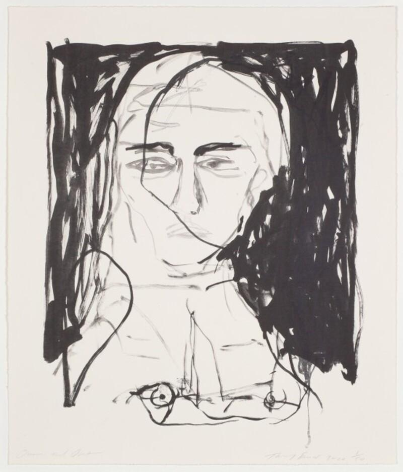Over and Out - Emin, Contemporary, YBAs, Lithograph, Black, Portrait