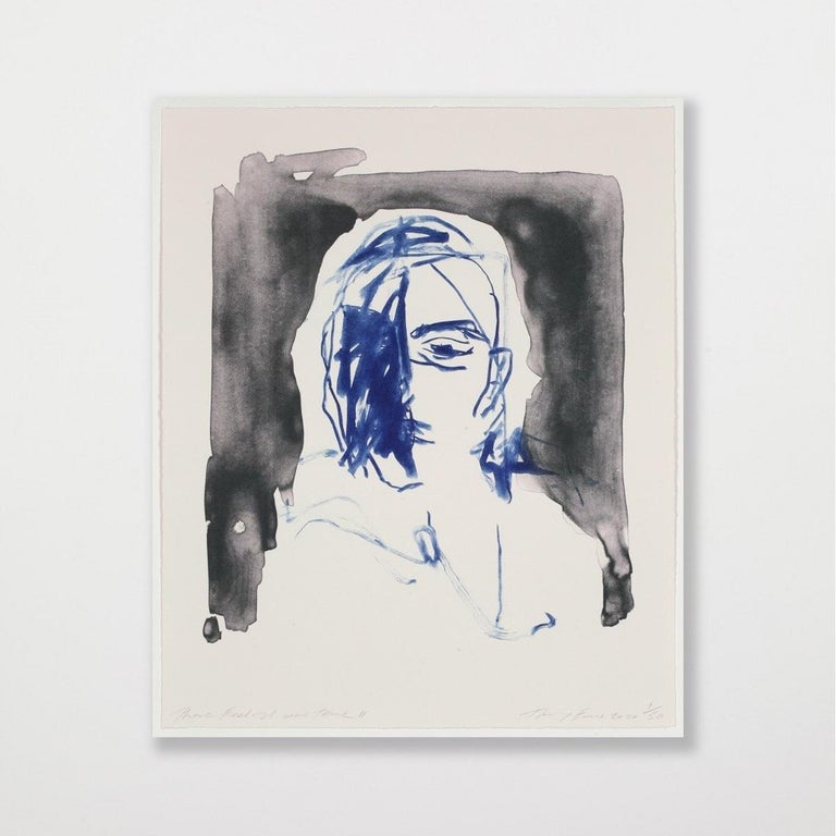 These Feelings Were True II - Emin, Contemporary, YBAs, Lithograph, Portrait - Gray Figurative Print by Tracey Emin