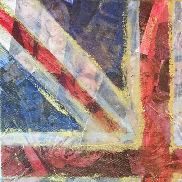 Collage of magazine cut outs of celebrities. Union Jack, British Flag, United Kingdom. Red, white and blue embossed on top. Crude use of gold leaf paint around the puckered edges. Antique feel to the piece.  Statement piece. Empire.  Celebrity