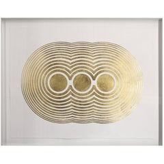 Track Gold Leafed Handmade Artwork on Cotton Rag Paper, Wall Hung Art