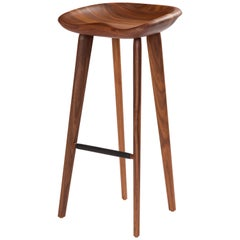 Tractor Bar Stool in Carved, Solid Wood by Craig Bassam