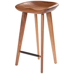 Tractor Counter Stool in Carved, Solid Wood by Craig Bassam