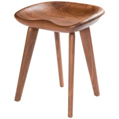 Tractor Stool in Carved, Solid Wood by Craig Bassam