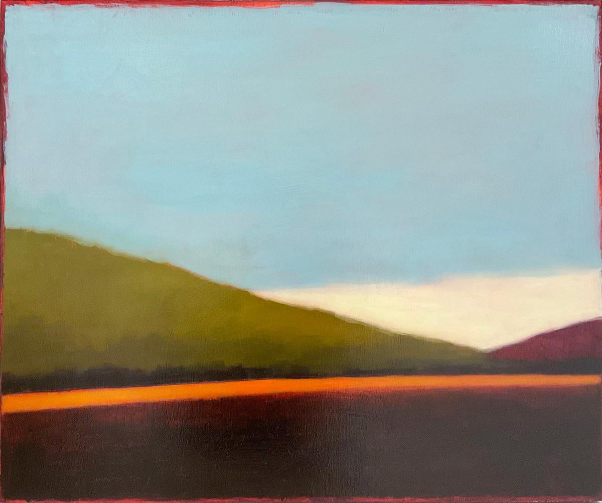 A Light Curve: Abstract Color Field Landscape Painting on Green Hills & Blue Sky