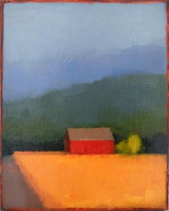 Barn Rt. 26 (Abstract Landscape Painting of a Red Barn, Yellow Field & Blue Sky)