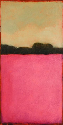Color Field 246 (Abstract Landscape Painting of Pale Green Sky & Magenta Field)