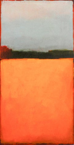 Color Field 248: Abstract Landscape Painting of Orange Forrest Meadow & Blue Sky